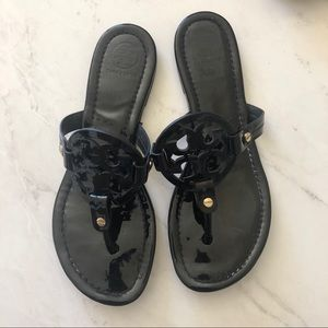 Tory Burch Miller glossy black sandals